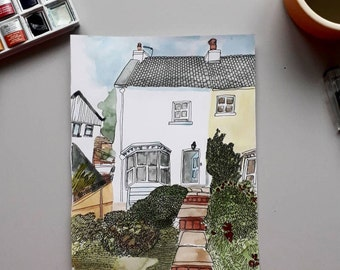 Custom Illustrated House Portrait - Original Watercolour Painting + Fine Liner drawing - House warming / personal gift / your home