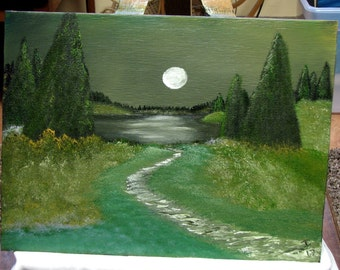 Oil painting #2 A late summers night on the path