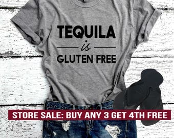 Tequila Is Gluten Free T-Shirt, Cute Vegan Shirt, Funny Vegan Shirt, Plant Food Vegan Shirt, Green Eater Gift, Unisex Crew Neck T-shirt