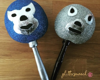 LUCHADORES, Mexican Wrestlers, Blue Demon Inspired, El Santo Inspired, Maracas, Party Favors