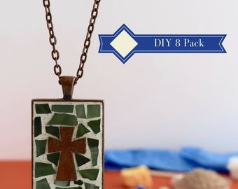 DIY Make Your Own Art, 8 Pack Party Activity, Women DIY Gift Ideas, Church group project Idea, Glass Mosaic Jewelry Kit, Do It Yourself Kit
