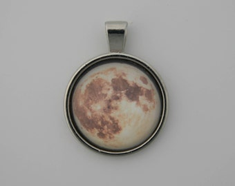 Moon Necklace, Space Moon Pendant