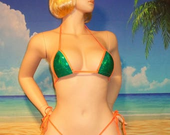 side tie scrunch bikini w/ a micro top Green Holographic S/M USA made