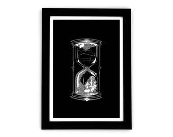 Hourglass Art Print, Wall Art, Pen and Ink Drawing, Hourglass Illustration - A3 - Limited Edition, Giclée Print, Gothic Art, Black and White