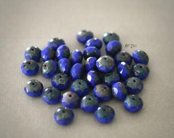 10, 8x6mm Czech glass beads faceted, cobalt blue