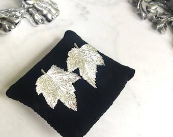 Earrings of currant leaves