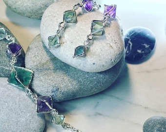 Earrings with fluorites covered with silver