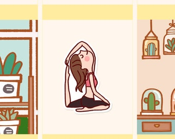 Cute Yoga Stickers, Yoga pose stickers, Kawaii girl stickers, Kawaii fitness stickers, Workout stickers, Wellbeing stickers  (LOLA047)
