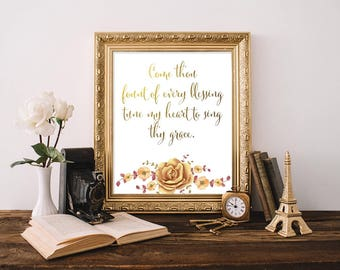 Come Thou Fount Of Every Blessing Tune My Heart To Sing Thy Grace, Scripture Print, Watercolor Camellia, Poster Calligraphy, Hymn Art