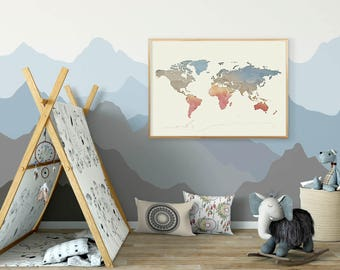 WORLD MAP PRINT, World Map Wall Decor, Red Blue Green Beige Wall Art for Children Nursery Kids, Watercolor Map of World, Large Map Poster