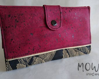 Wallet / coin purse woman with cork fabric and cotton