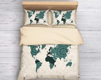 World map bedding etsy boho world map bedding world map duvet cover bohemian duvet cover worldmap bedding gumiabroncs Images