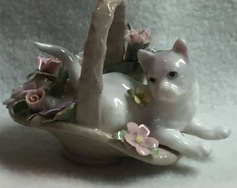 White Kitty in Basket of Porcelain Flowers (#048)