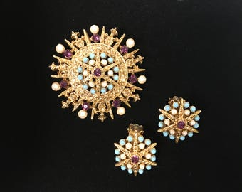 Vintage Starburst Brooch and Earrings