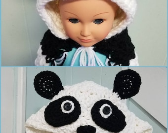 Panda me and my doll blanket, doll and child blanket, matching blanket, panda blanket, hooded blanket