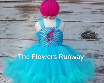 Poppy Troll Tutu Dress and matching Pink Hair Headband. Poppy Troll Birthday Tutu Dress.