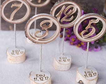 Rustic wedding table number Engraved - Freestanding numbers - Wedding table numbers - Wooden table numbers -  Personalized table number