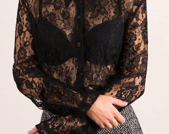 Authentic Dolce & Gabbana sheer lace shirt blouse UK 12