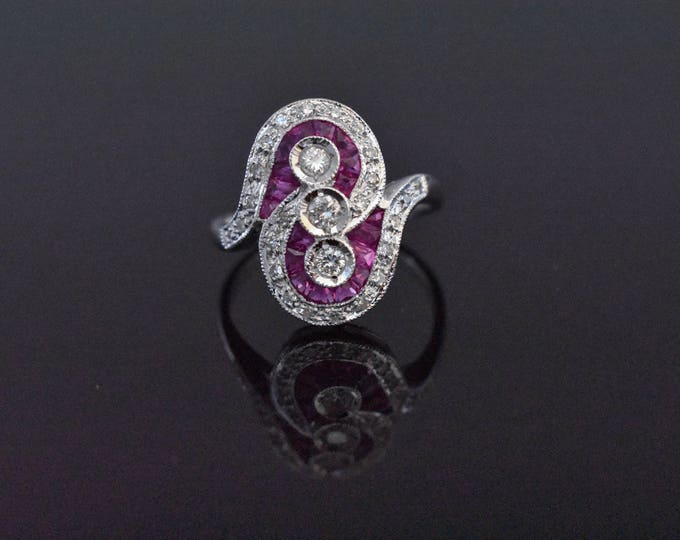 18K White Gold Ruby and Diamond Ring