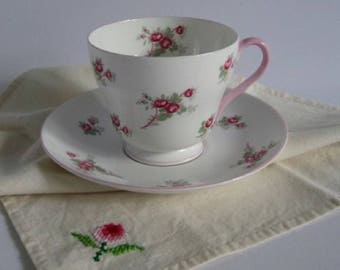 Vintage Tea Cup Set-Shelley Rose Spray 13545-Pink Roses on White-Fine Bone China Shelley England c1945-1966 Collectible