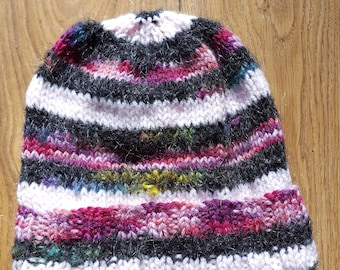 Adult's Beanie hat, Handmade, Designed, Hand knitted, Variety Pinks, Mixed fibre Aran< Black Acrylic, Mohair and Nylon, Light, Warm, Gift.