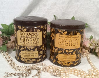 Bower's Old-Fashioned Peanut Crunch Tin Set of Two (2)