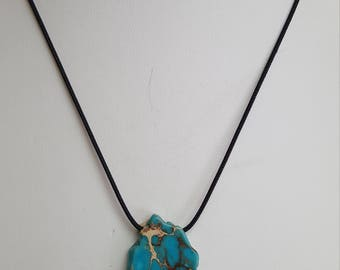 Turquoise Variscite Pendant Necklace, Free Shipping (E17060)