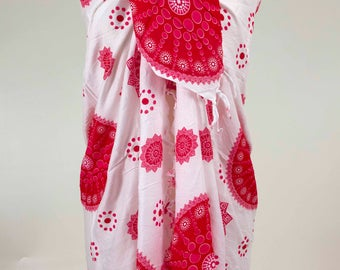 Red Pareo, Indian Pareo, Mandala Sarong, Indian Sarong, Summer Accessory, Beach Sarong, Beach Scarf, Summer Scarf, Red and White Sarong