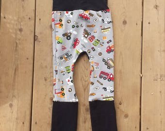 Grow with me Pants, Maxaloones, cloth diaper pants, bum circle, stretch baby pants, rescute and trucks print