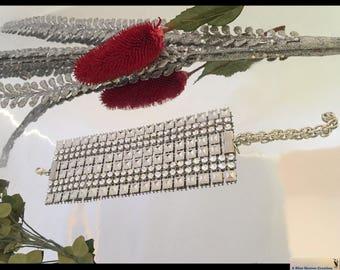 Silver Celebrity Power Bracelet - Chic WIDE Faux Rhinestone Mesh BLING Bracelet, Adjustable Bracelet, Hand-made Jewelry, Boho Gifts Under 15