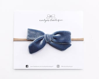 Dusty Blue Velvet Bow | Vintage velvet bows, Baby headband set, Baby bow Headbands, Small Bows, Baby Bows, Newborn headbands, Nylon Headband