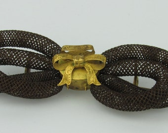 15K Victorian Hairwork Bow Brooch