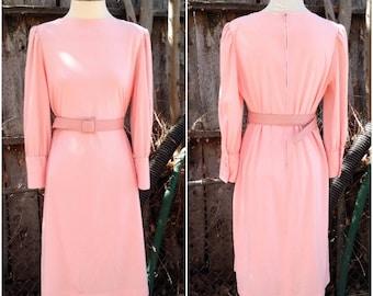 60s 70s Mod Style Pink Long Sleeve Vintage Midi Dress Free USA Shipping