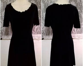 Authentic 90s Velvet Black Dress Size Medium