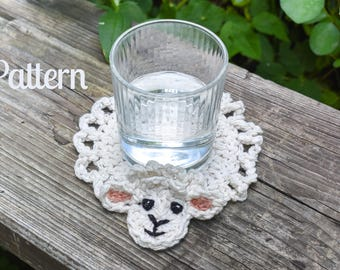 PATTERN Betsy Crochet Sheep Coasters - Beginner Pattern - Crocheting Pattern - Cute Coasters - How-To - Photo Instructions - Fun Coasters
