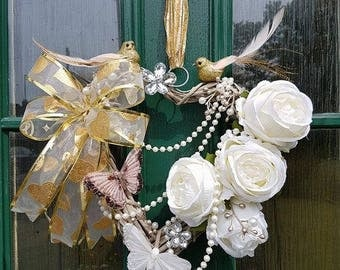 Golden Birds & Butterflies, wreath, floral, flowers, decor, door decor, plaque, gift, decoration,shabby chic, heart