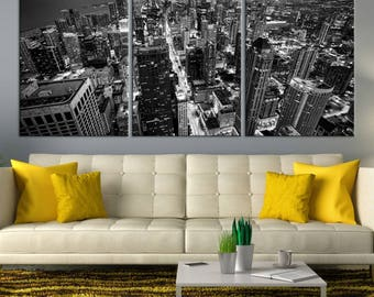Chicago Wall Art Canvas Print - Extra Large Chicago City Night Canvas Print