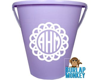 Personalized Birthday, Baby Shower, or Easter Bucket; Gift Basket, Bucket with Vinyl Decal, Monogram