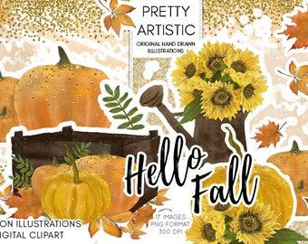 Fall Watercolor Clipart, Pumpkin Halloween Clipart, Watercolor Illustration, Autumn Clipart, Leave Clipart, Leaves, Sunflower Clipart Autumn