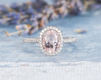 Pink Morganite Ring Engagement Ring white Gold Diamond Oval Cut Ring Eternity Band Anniversary Gift for Her Women Bridal Antique Promise