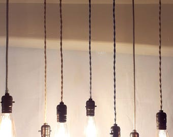 reclaimed industrial lighting. 7 pendant light farmhouse rustic home decor reclaimed wood chandelier lighting industrial fixture vintage