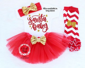 Santa Baby Christmas Outfit Baby, First Christmas Outfit Girl, Baby Christmas Tutu, My First Christmas, Baby First Christmas Outfit, HC5