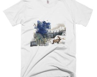 elk mens t-shirt - wild animal print fashion design