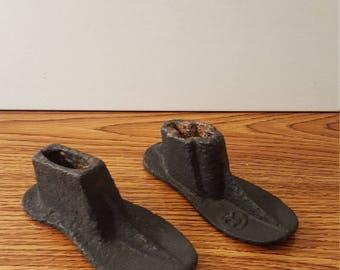 Vintage Cast Iron Cobbler Baby Shoe Molds / Horns