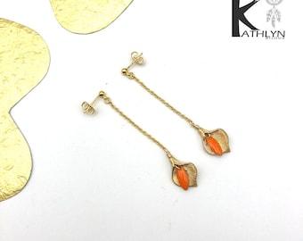 Arum meadow orange and gold earrings