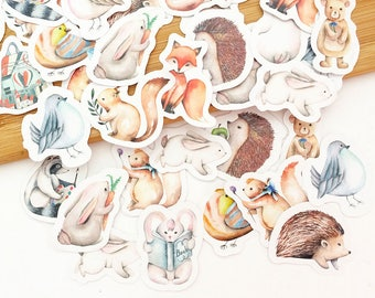 Forest Animals Flake Stickers (45 pcs) Korean Stationery Kawaii Stickers Animal Diary Stickers