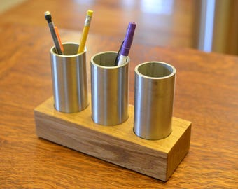 Oak and Stainless Desk Caddy