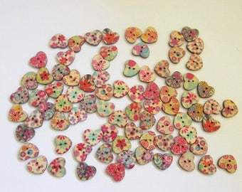 Set of 20 heart wooden buttons, Cute heart shaped wooden buttons for your craft with floral print background