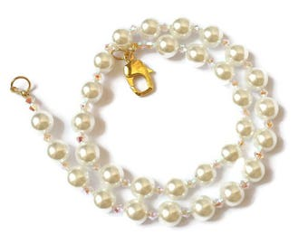 Czech swarovski bicones and white necklace-Pearl Necklace-white pearls