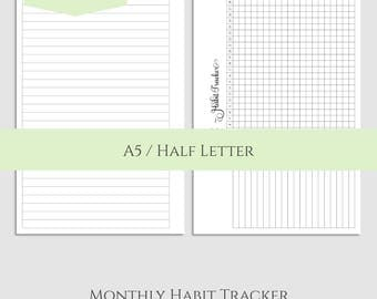"Monthly Habit Tracker Printable Planner Inserts ~ Goal and Task Tracker Box, Habit Building Reminder ~ A5 / 5.5"" x 8.5"" Instant Download"